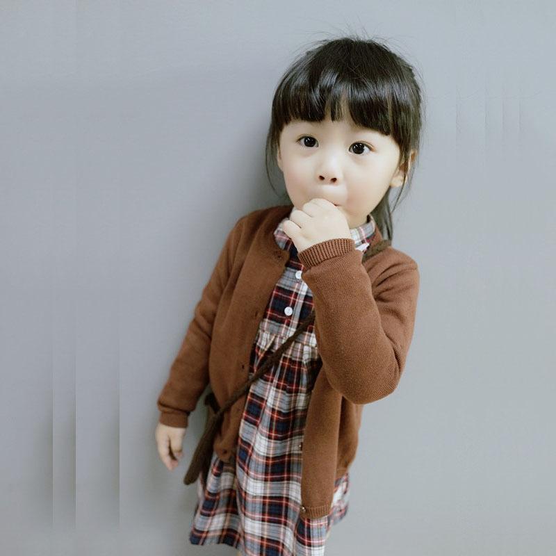 男女宝宝儿童纯色针织开衫毛衣韩版卡通贴章绣花毛衣针织外套自