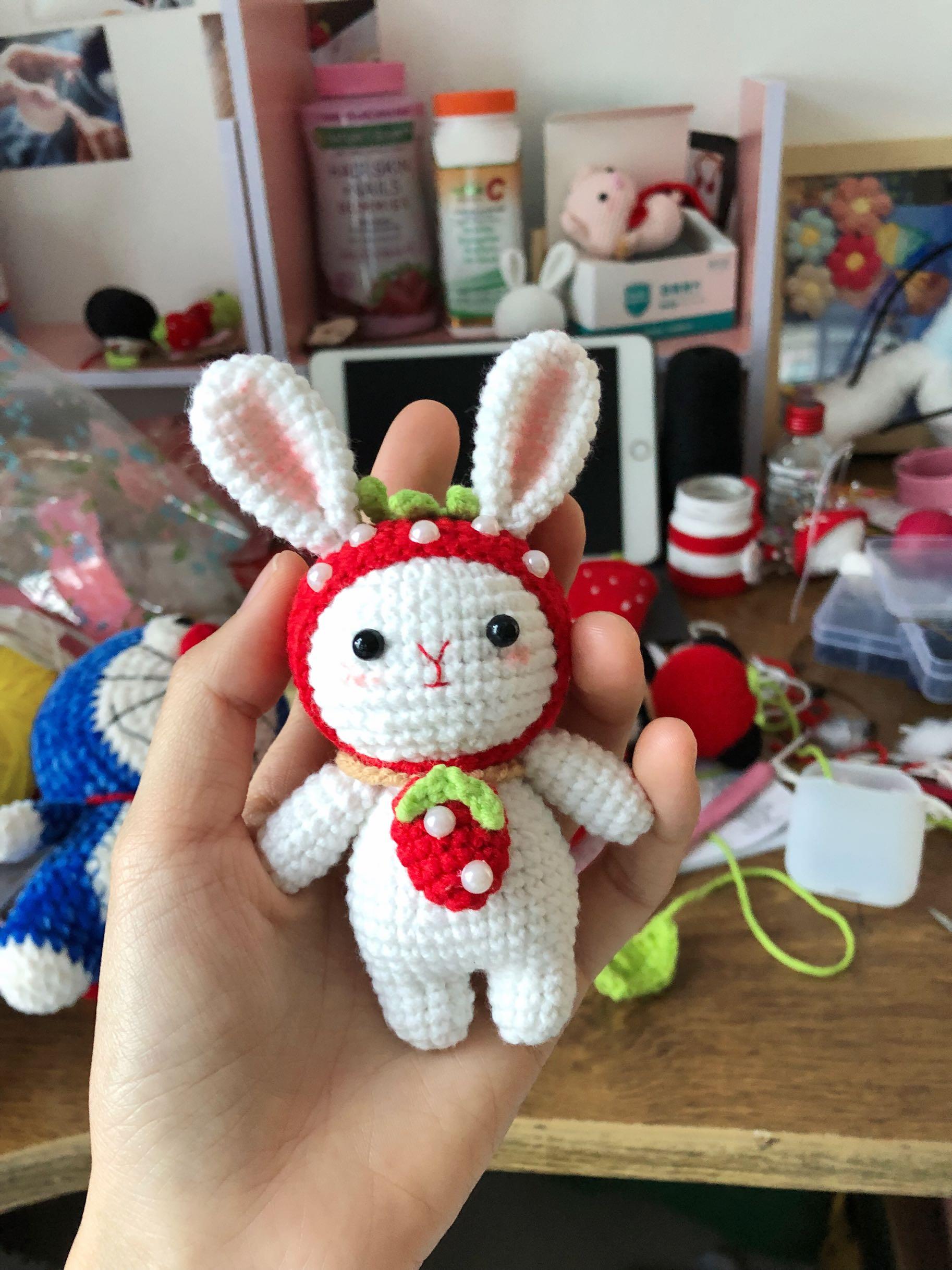 钥匙扣挂件 兔子熊猫情侣挂件 创意礼物 纯手工钩针成品 miu 小潘