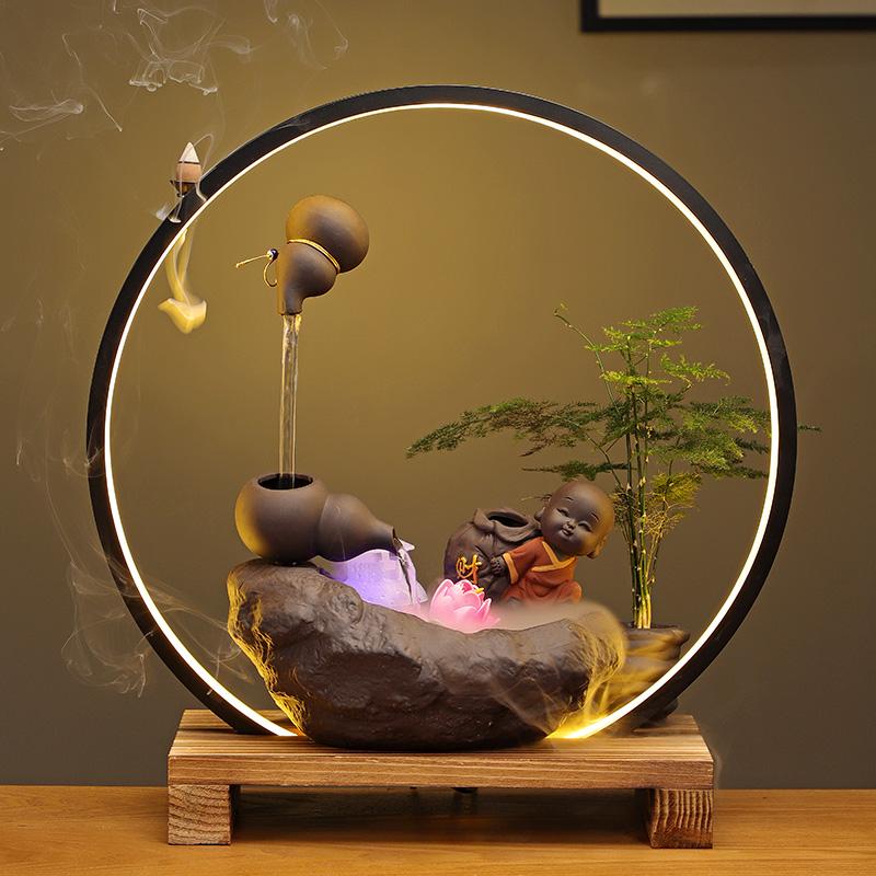 禅意中式流水器办公室桌面摆件灯圈悬空壶客厅玄关装饰品流水景观