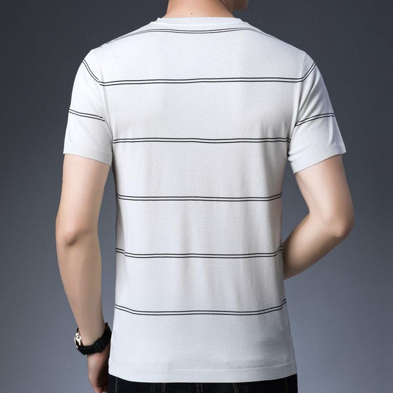 恤薄款半袖體恤男裝潮 T 匯努特正品新款夏季圓領條紋針織衫短袖