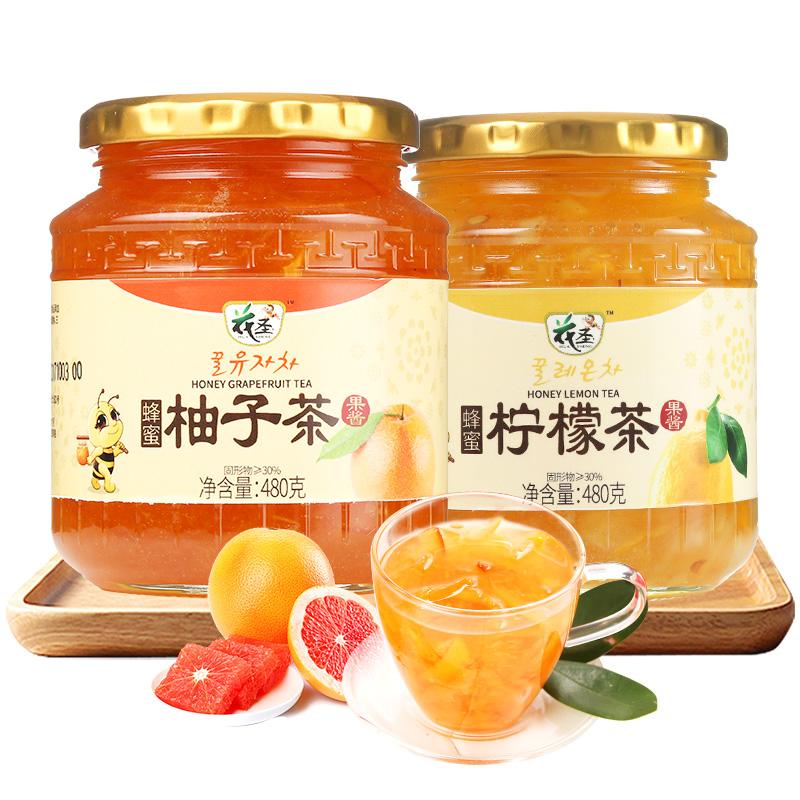 花圣蜂蜜柚子茶柠檬茶480g*2瓶 韩式风味冲泡水果茶酱泡水冲饮品