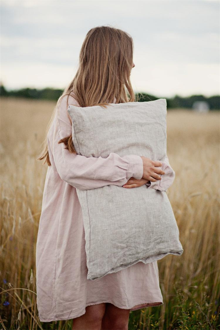 法國進口亞麻原料 亞麻信封式枕套一個(不含枕芯) 透氣抗蟎舒適