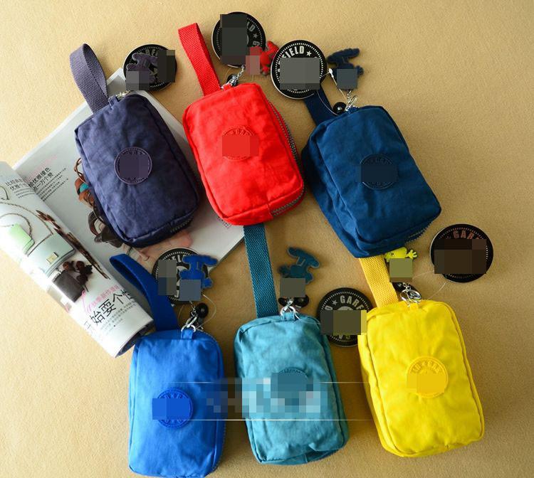 包邮牛货猿猴挂件韩国多色便携零钱包帆布双层拉链手拿包钥匙包