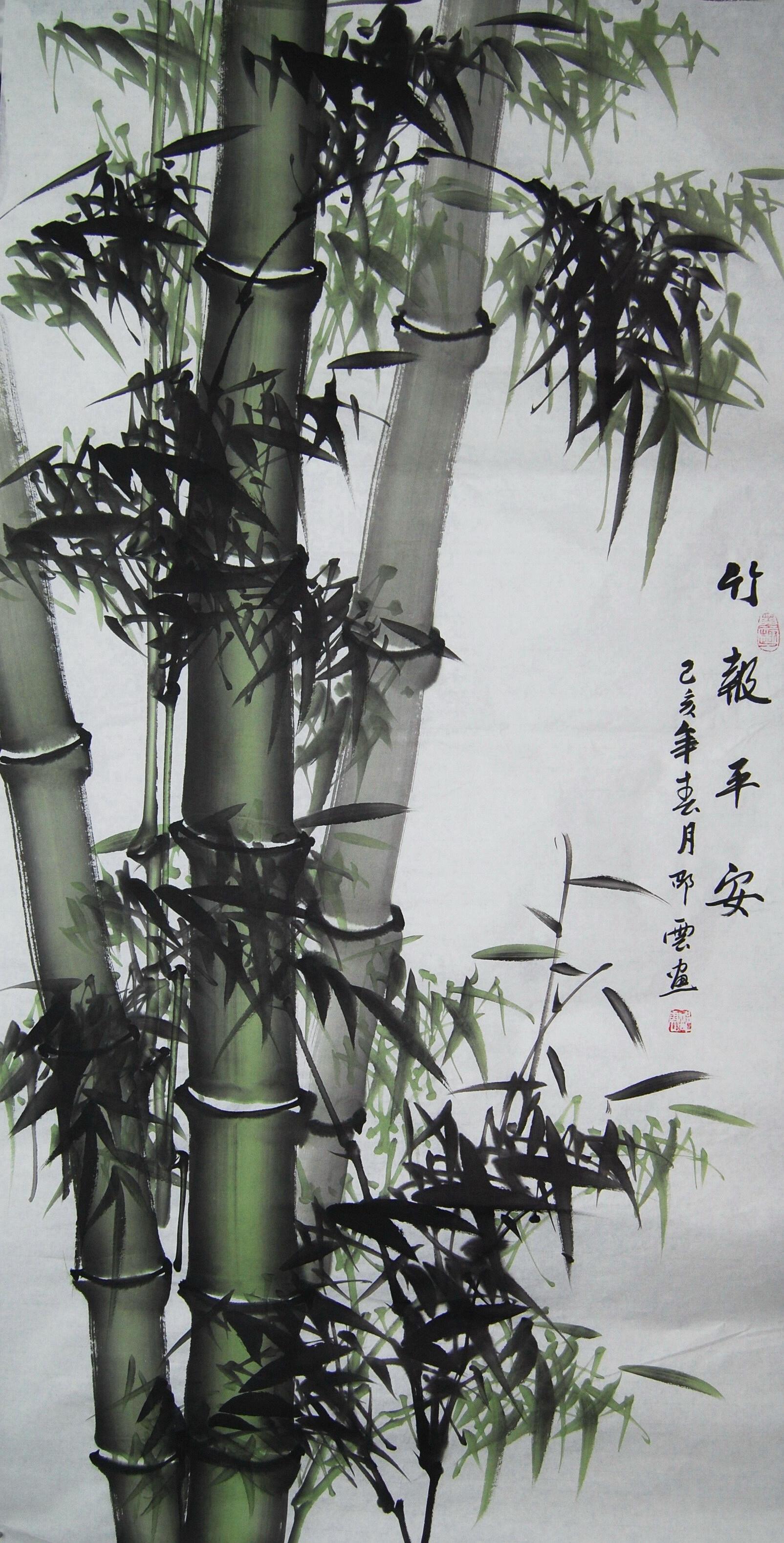特價純手繪四尺橫幅豎幅國畫竹子中堂竹報平安裝飾畫客廳書房字畫