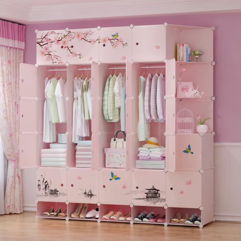 衣櫃簡易櫃子鋼架組裝簡約現代經濟型塑料布衣櫥臥室省空間仿實木