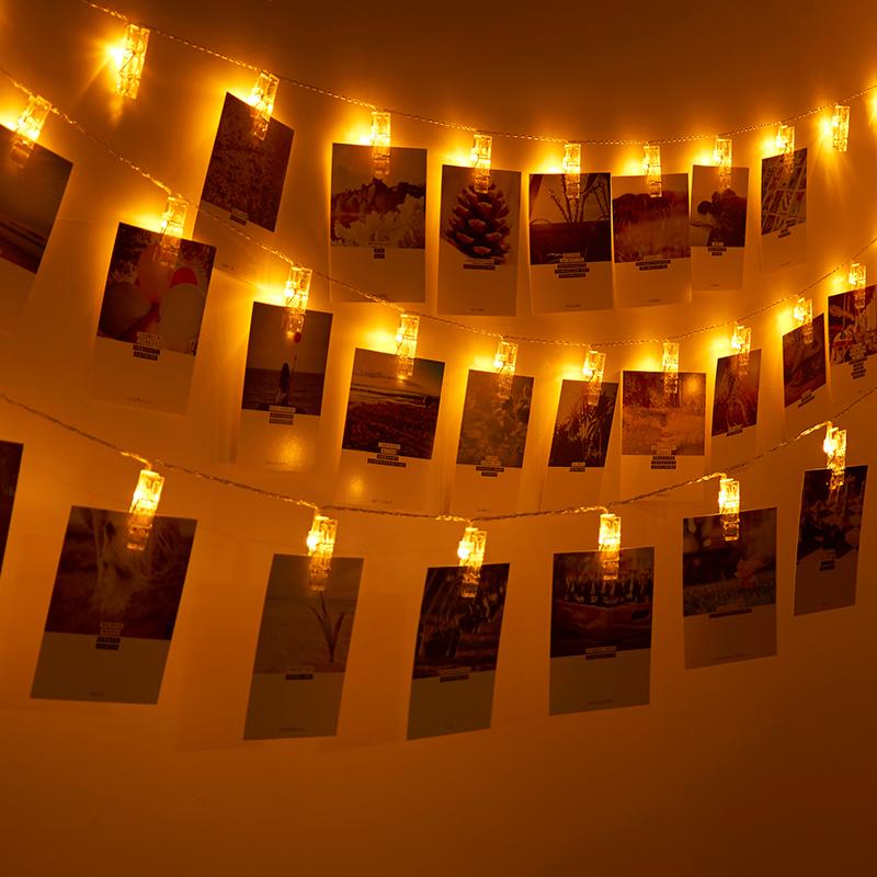 led照片夹子彩灯 发光夹子闪灯串灯星星灯照片墙布置 相片夹创意