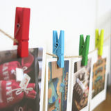 9,9 parcels of creative grid photo clip hemp rope wall love clip wood cartoon color small wooden clip