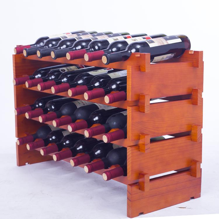 包邮红酒架摆件创意实木家用酒瓶架木质葡萄酒架落地随意叠加酒架
