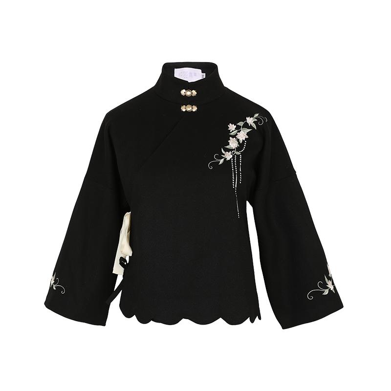刺绣复古短外套 与君意 徐娇织羽集原创日常汉元素服春季新款女装