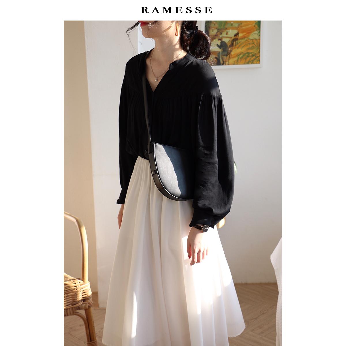 Ramesse   小v领宫廷风温婉黑色衬衫 泡泡袖衬衣女设计感上衣早秋