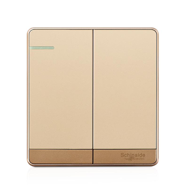 86型无框大板系列 2开二开单控墙壁开关插座面板 香槟金正品特价
