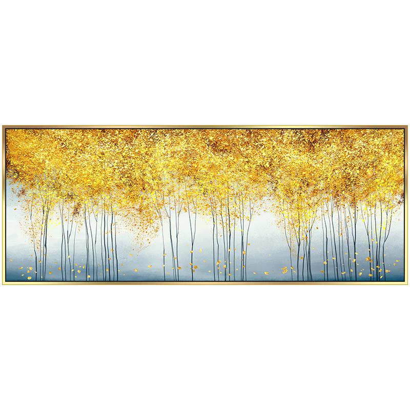 黄金发财树纯手绘客厅沙发背景墙油画现代简约轻奢抽象卧室装饰画