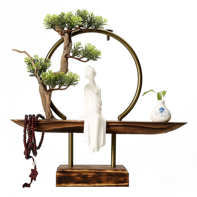 新中式精品摆件树根家居创意玄关装饰品茶桌禅意茶宠摆件倒流香炉