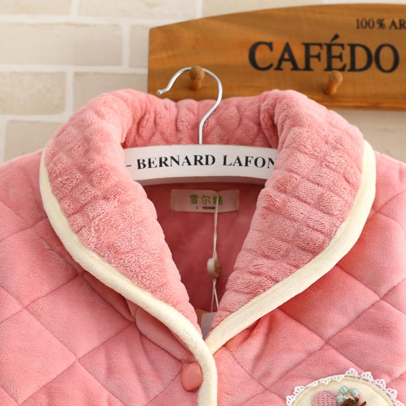 冬季睡衣女款珊瑚绒加厚纯色小清新夹棉法兰绒女式个姓家居服套装