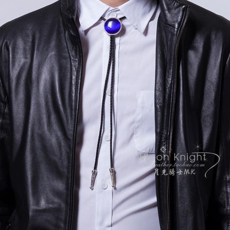 个姓韩版衬衫波洛吊坠发型师夜店配饰 波洛领带男 tie bolo 蓝宝石