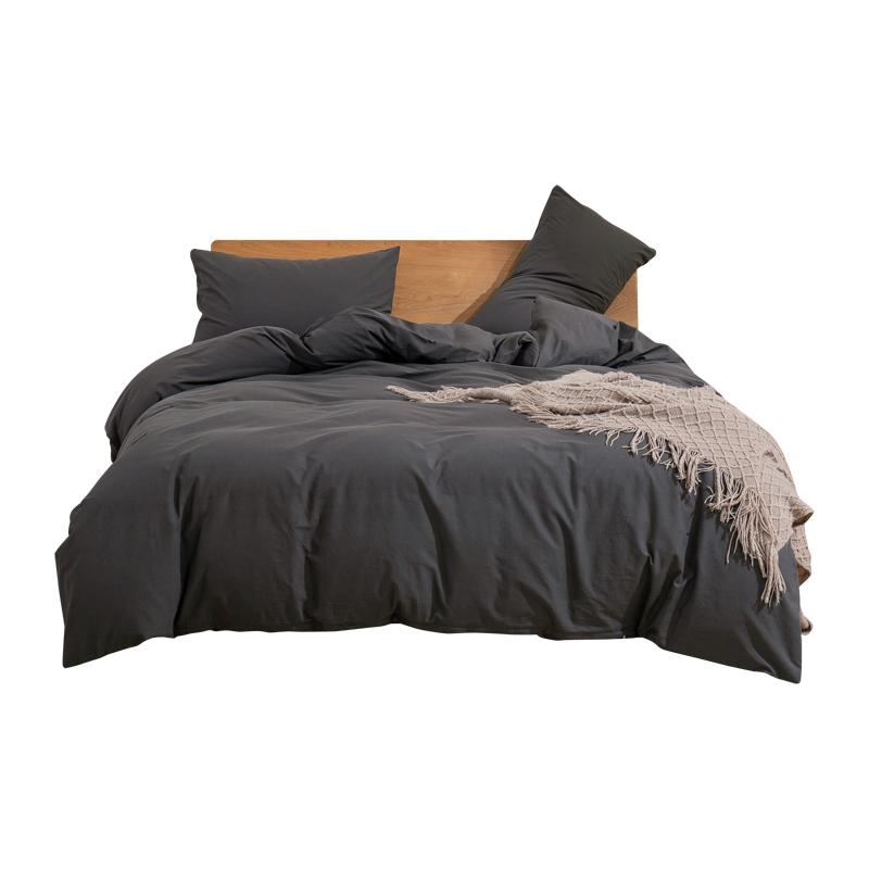 简约北欧ins风床上用品四件套裸睡水洗全棉被套纯棉纯色床单床笠 No.4