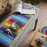 Sen female colorful rainbow pastoral pop of color table runner cushion coasters