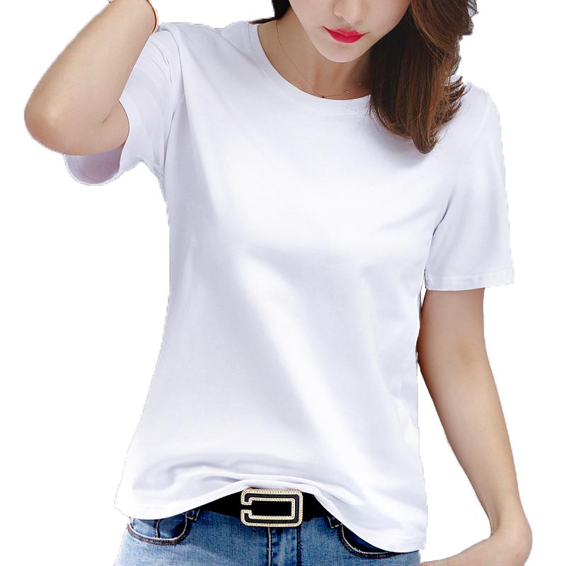 纯棉白色T恤女短袖宽松薄款2021春季新款夏装纯色半袖女装上衣丅