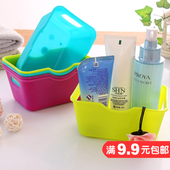 純色系列收納盒 桌面收納雜物整理盒化妝品置物盒長方形小盒子