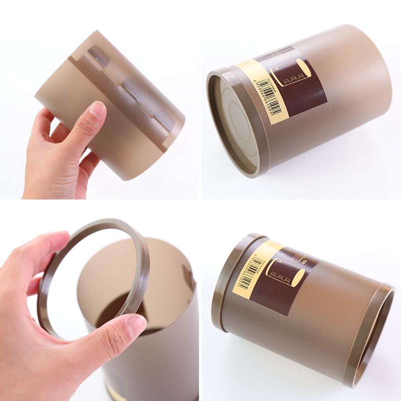 日韩文具自然简约日式笔筒收纳盒圆形创意磨砂塑料多功能桌面笔筒