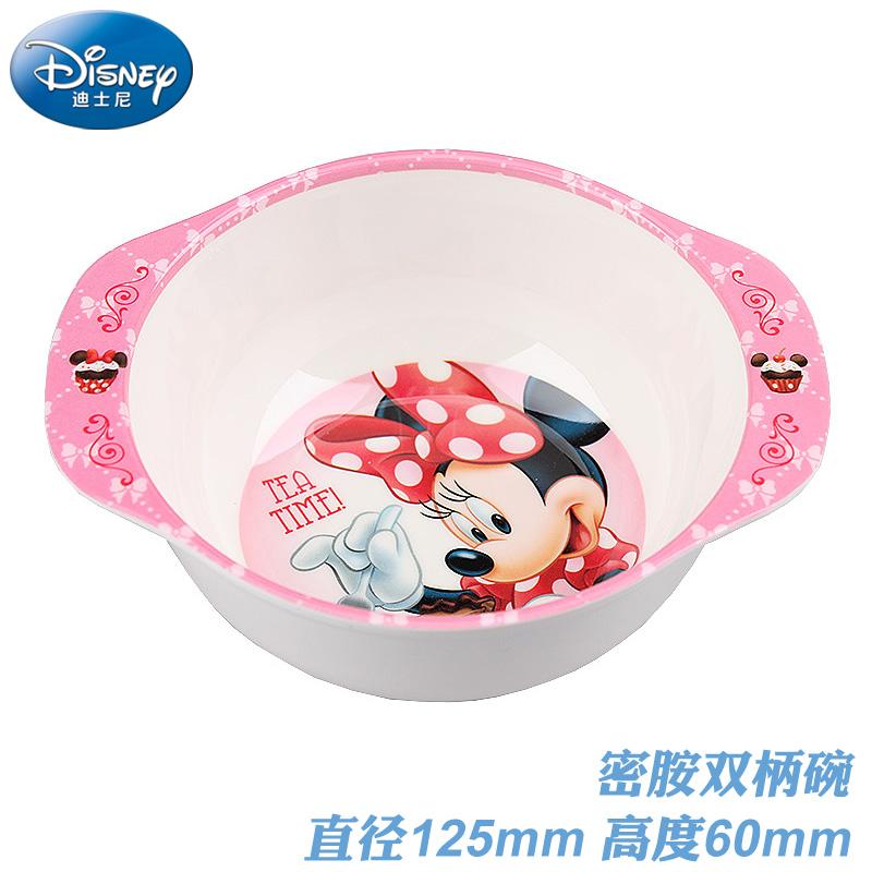 迪士尼幼儿饭碗儿童安全餐具密胺有盖汤碗吃饭碗带柄男女宝宝小碗