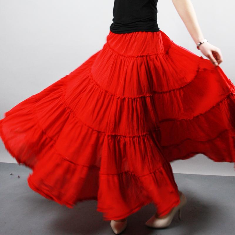 半身长裙夏大摆裙高腰沙滩裙跳舞裙子文艺波西米亚A字半身裙红色