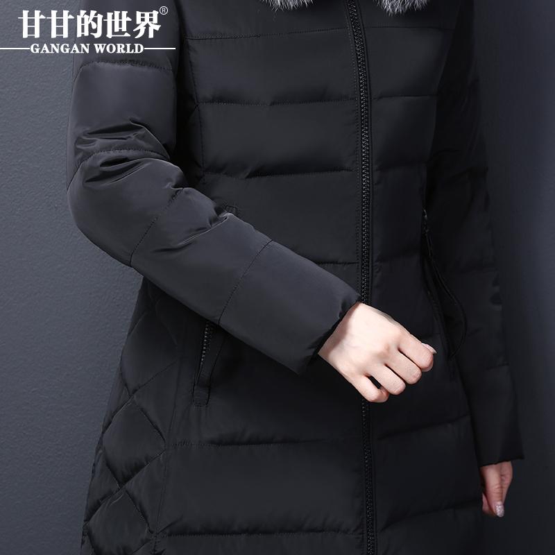 2017新款羽绒服女中长款过膝加厚黑色修身奢华大码显瘦中年妈妈