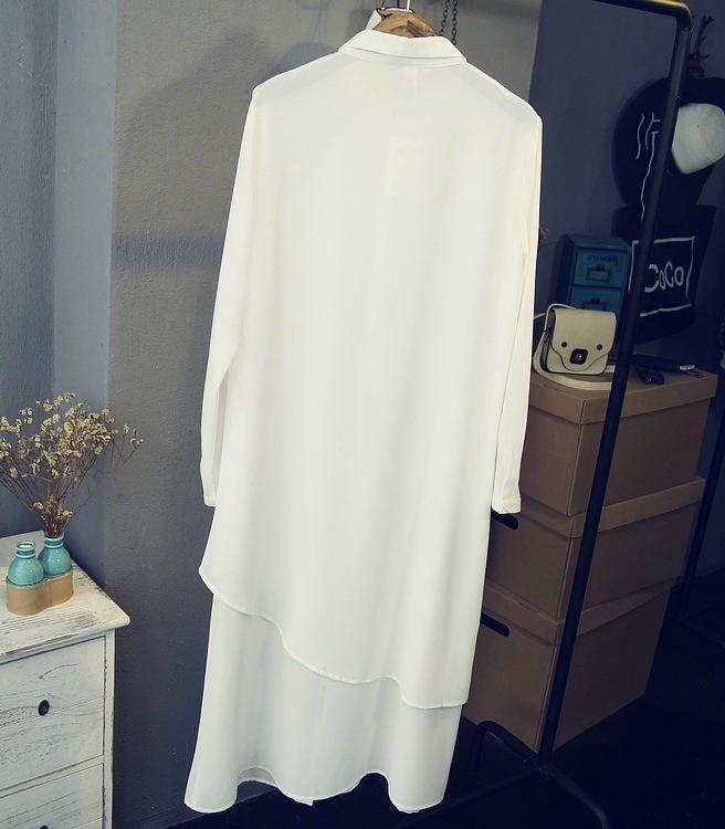 雪纺衬衫春秋大码纯色超长款女士雪纺衬衫连衣裙雪纺衫长袖衬衣女