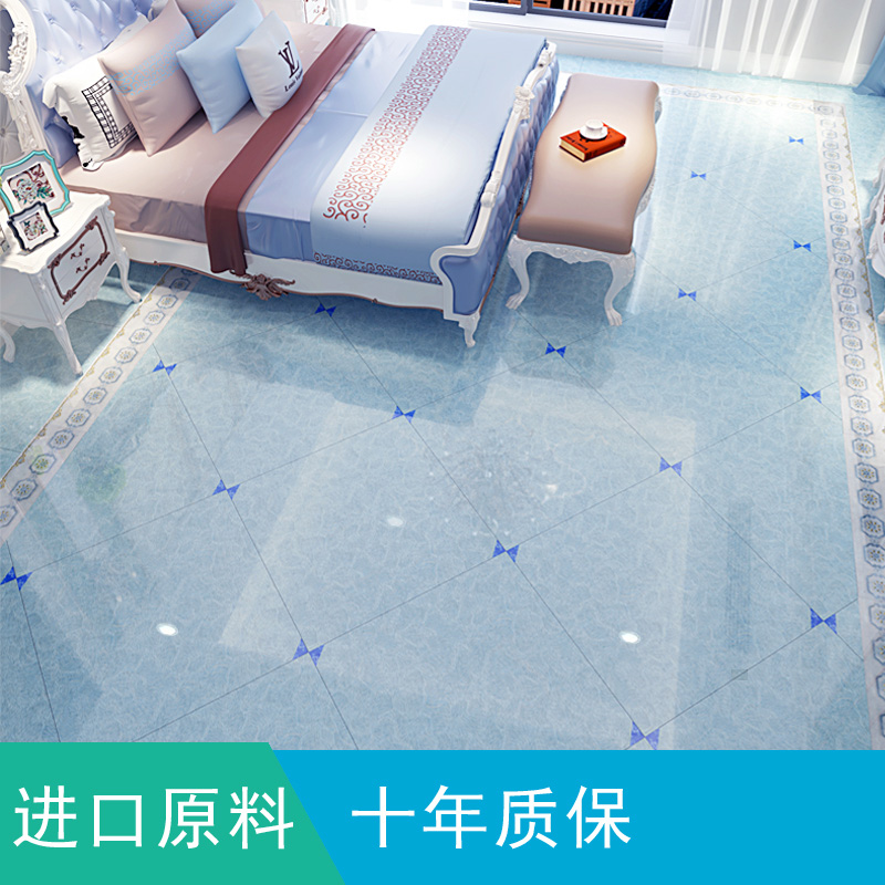 地中海客厅地砖 天湖蓝色瓷砖纯色  2019名牌瓷砖800x800大地板砖