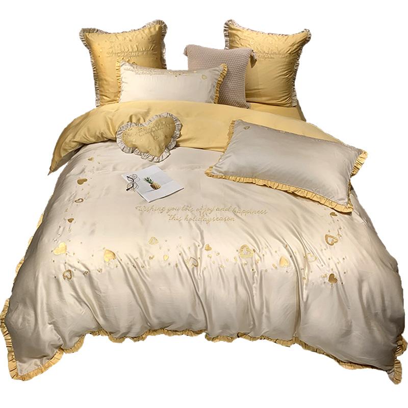 支双面天丝四件套少女心荷叶边夏季裸睡亲肤床单被套子床上用品 80