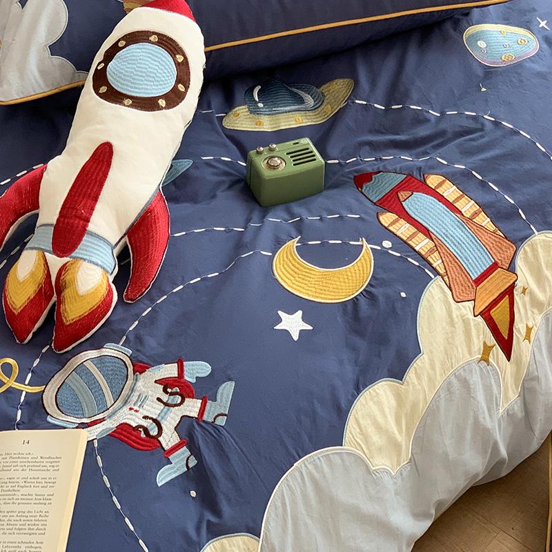 水洗棉纯棉四件套100全棉卡通可爱火箭宇航员刺绣男孩儿童三件套4