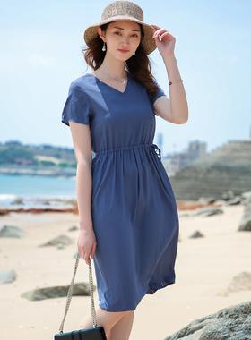 2021新款棉绸连衣裙女夏季短袖收腰显瘦大摆裙人造棉中长款沙滩裙