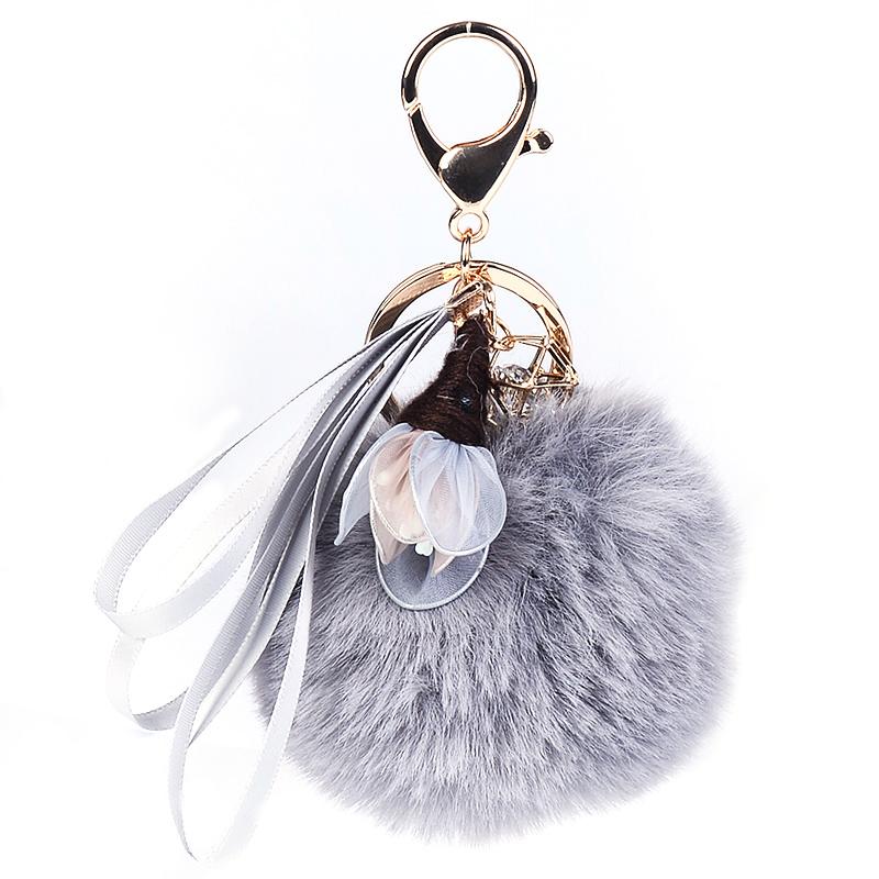 汽车钥匙扣女韩国可爱手工飘带花朵毛球毛绒钥匙链甜美书包小挂件