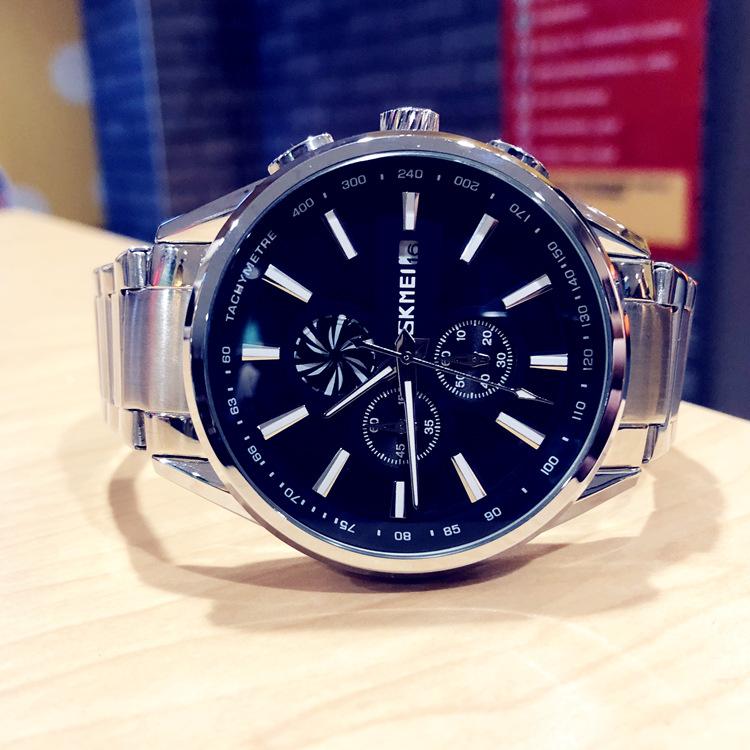 欧美大表盘旋涡手表男时尚潮流防水夜光多功能钢带石英表男士腕表
