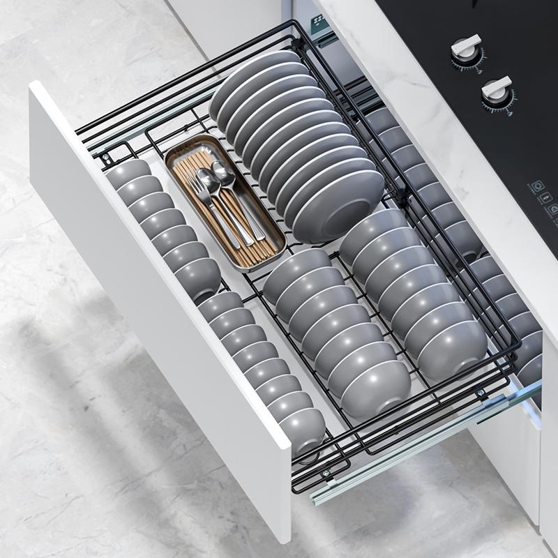 不锈钢双层抽屉式碗架调味篮厨柜调料碗蓝 304 樱花拉篮厨房橱柜