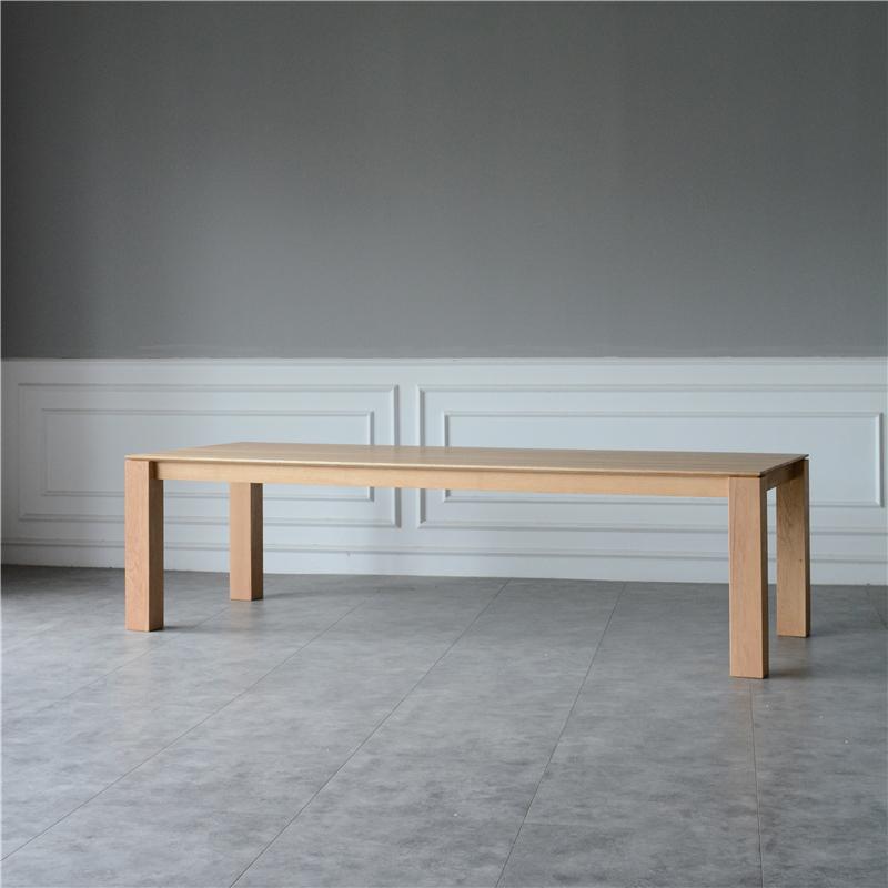 北欧全实木极简书桌长桌设计师原木色餐桌简约现代洽谈桌办公桌