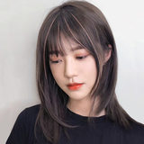 Wig female long hair net red natural full headgear high temperature silk air bangs thin bangs clavicle medium long straight hair