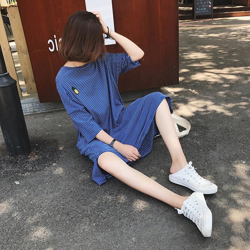 中长款短袖过膝T恤女夏季韩版宽松开叉刺绣条纹连衣裙懒人裙子T潮
