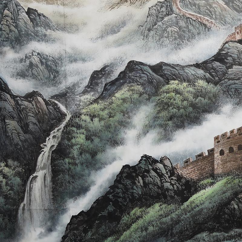 国画手绘万里长城画靠山图办公室山水画大气会议室江山永固0005