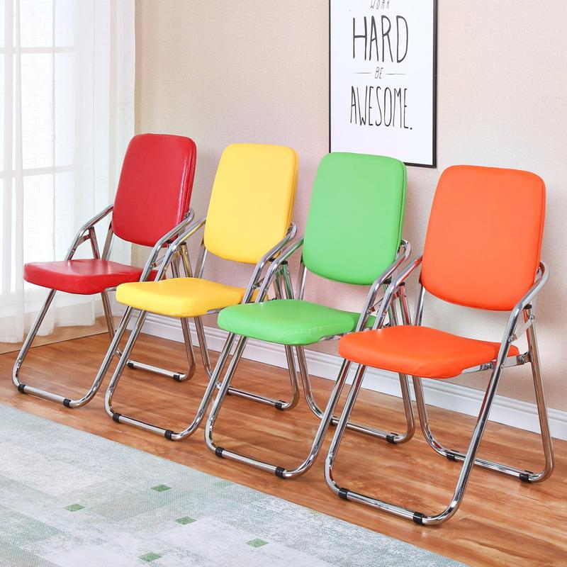 折疊椅子家用學生宿舍餐椅靠背椅簡易會議凳子便攜休閑培訓電腦椅