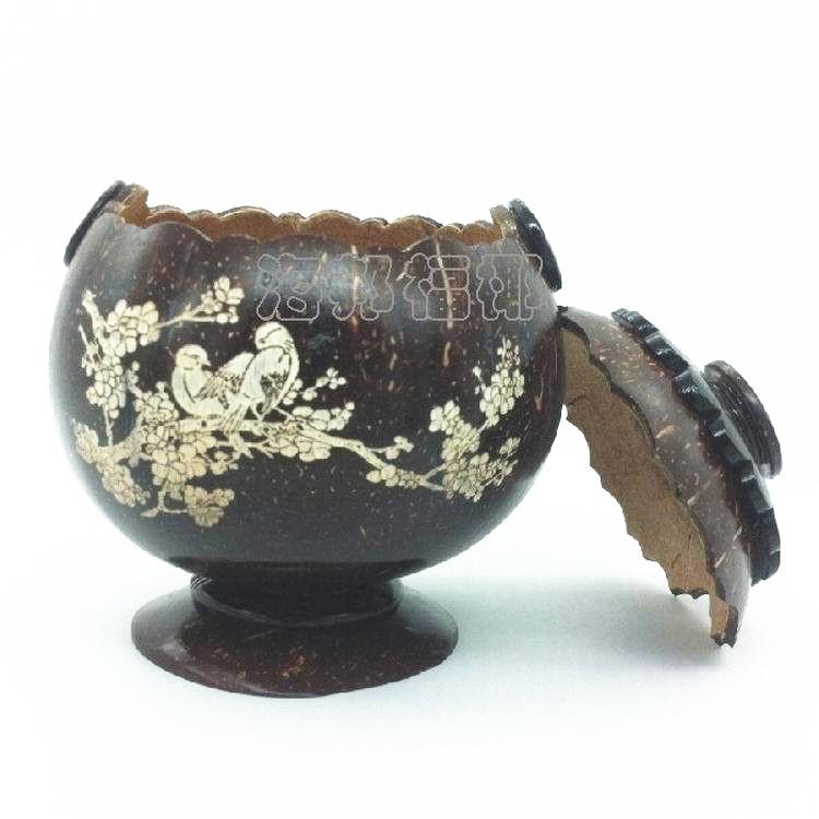 包邮椰雕摆件海南黎族特色喜上眉梢高脚储物罐椰子壳椰壳工艺礼品