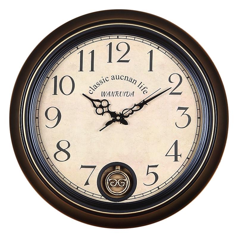 美式现代简约客厅摆钟欧式复古大号石英钟表北欧怀旧静音铁艺挂钟