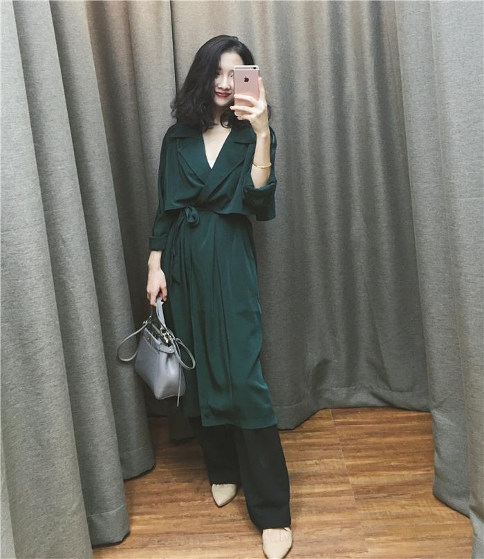 街拍款夏洛克侦探风衣复古绿纯色薄款经典长风衣正品 YANG IVY