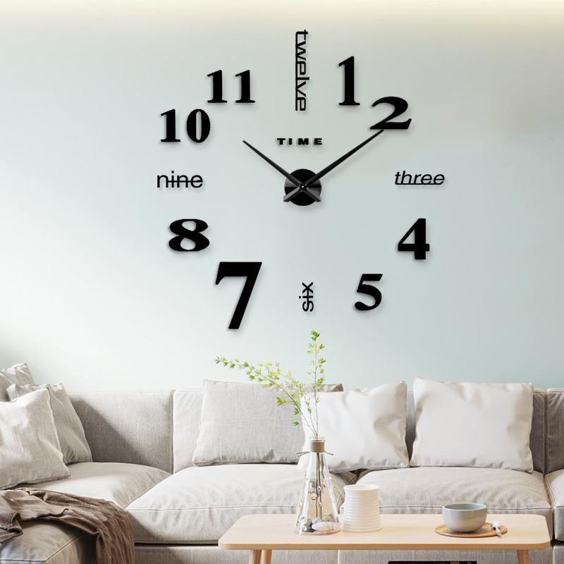 簡約超大掛鐘客廳創意藝術時鐘家用DIY個性時尚3D立體鍾牆貼掛錶