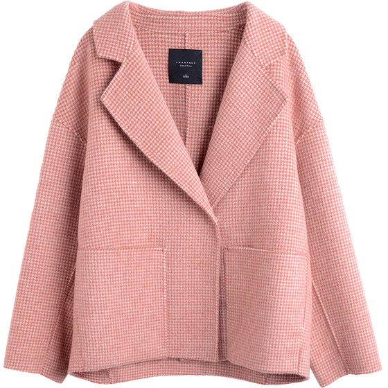 Pink Plaid Woolen Jacket A Short Section Of Double-sided Aerbaka Do Little Double-sided Cashmere Coat Jacket Women
