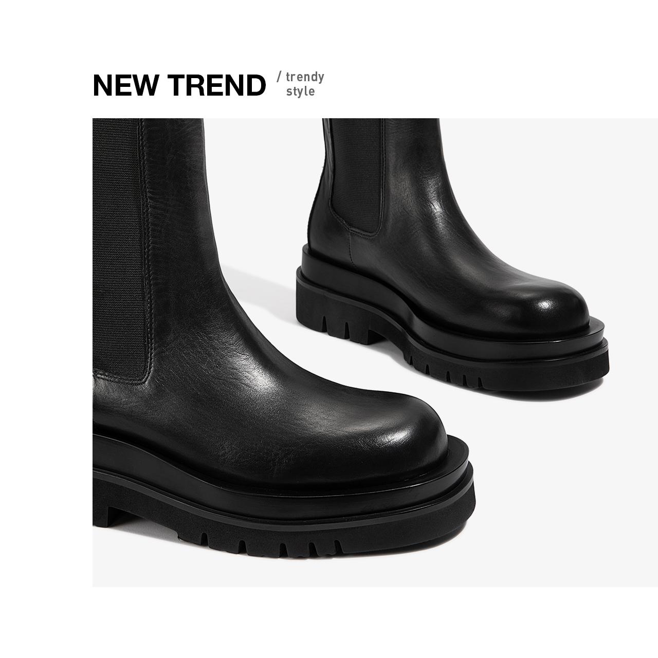 爱米高2020秋冬新款牛皮厚底机车靴切尔西短靴英伦烟筒靴女