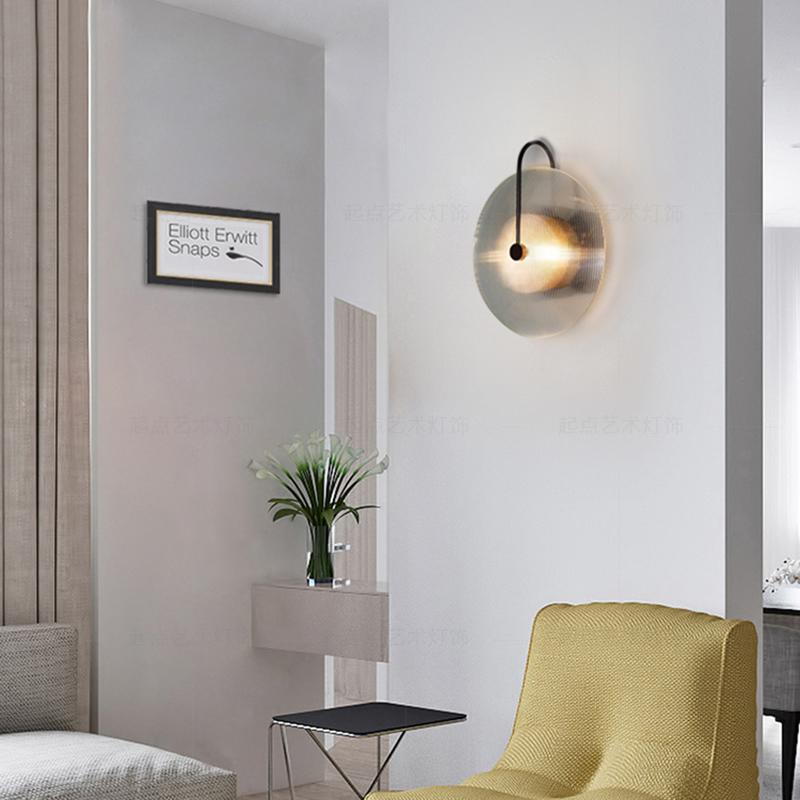 创意玻璃水纹设计壁灯北欧简约现代客厅背景墙卧室床头过道装饰灯
