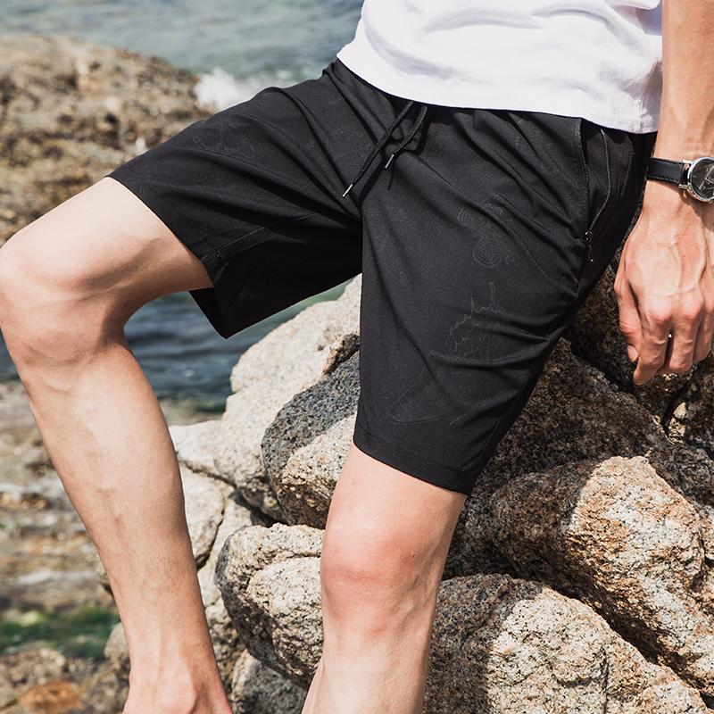 夏薄款运动短裤男夏天五分裤速干5分沙滩裤冰丝裤宽松弹力中裤潮4