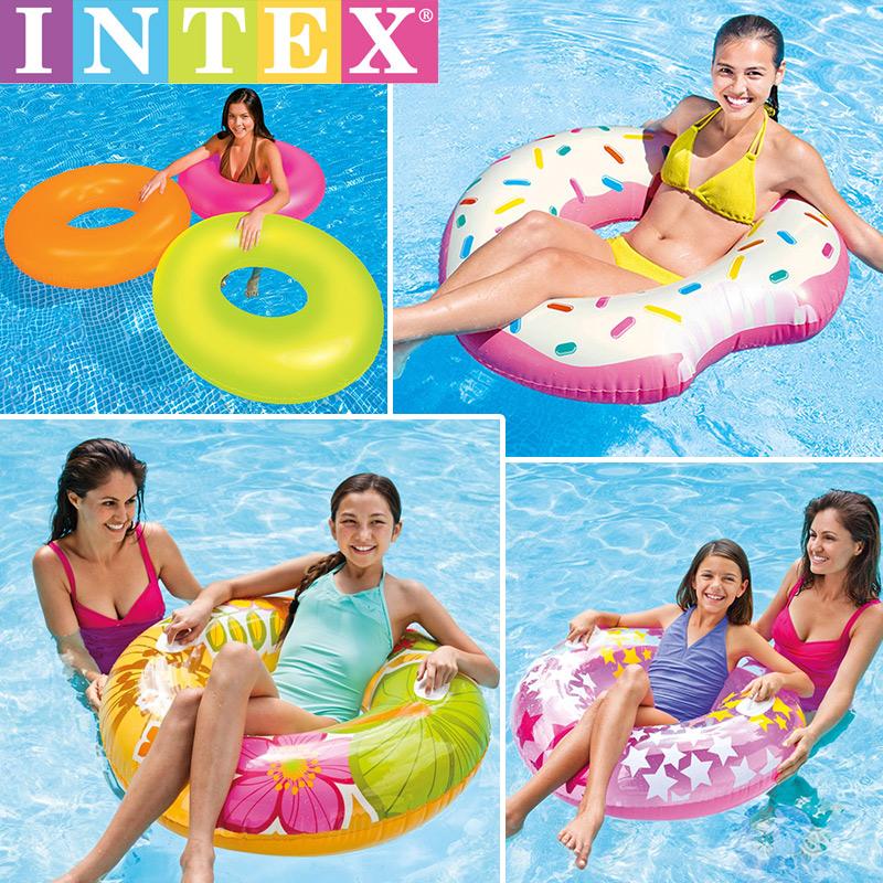 INTEX成人游泳圈兒童網紅大人初學者水上充氣坐圈加厚大號救生圈