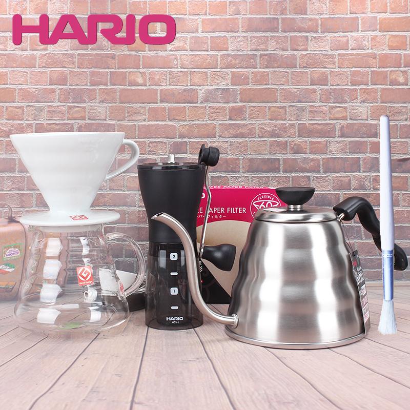 日本HARIO家用V60濾紙滴濾式陶瓷濾杯手衝咖啡細口壺磨豆機套裝